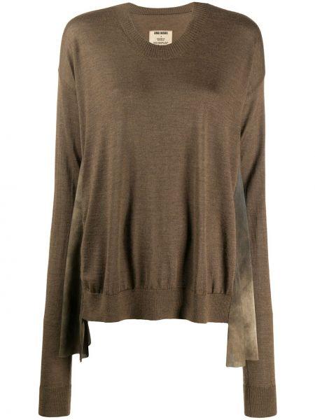 Шерстяной коричневый расклешенный свитер с круглым вырезом Uma Wang