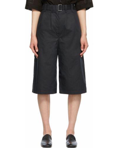 Czarne szorty bawełniane z paskiem Lemaire