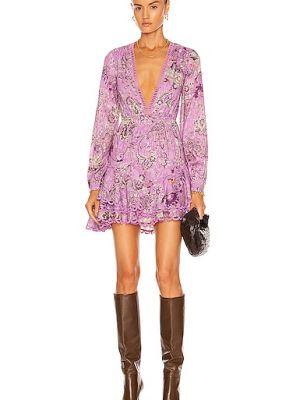 Кружевное платье мини - фиолетовое Hemant And Nandita