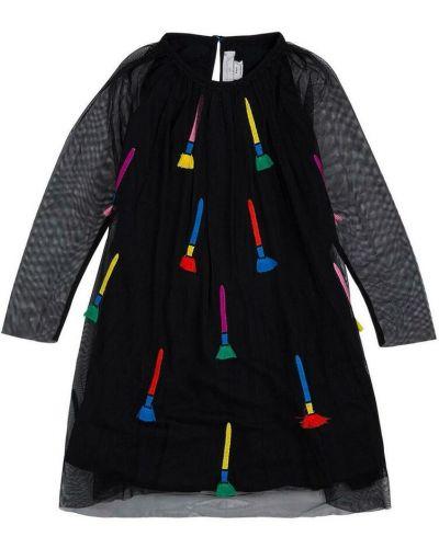 Czarna sukienka z haftem Stella Mccartney