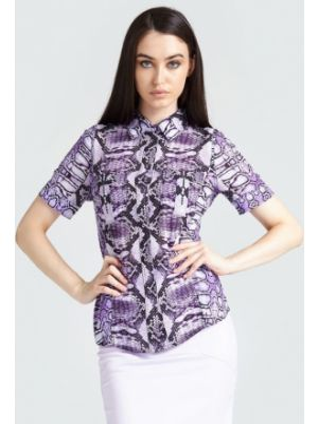Klasyczna fioletowa koszula krótki rękaw Guess