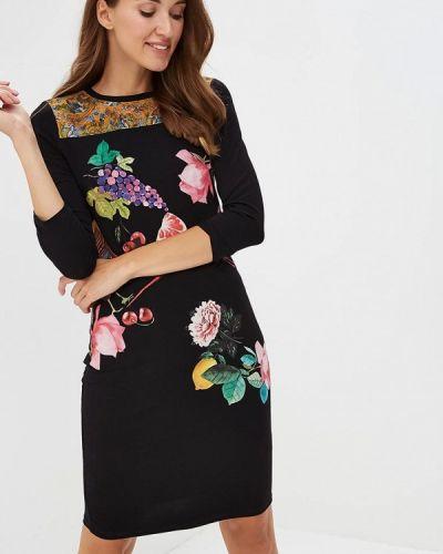 Черное платье с длинными рукавами Desigual
