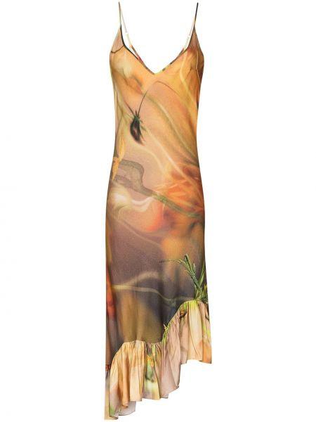 Sukienka asymetryczna w kwiaty - pomarańczowa Collina Strada