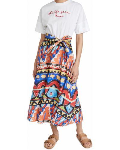 Платье-рубашка с поясом с короткими рукавами с декольте Stella Jean