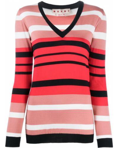 Wełniany z rękawami pulower z dekoltem w szpic Marni