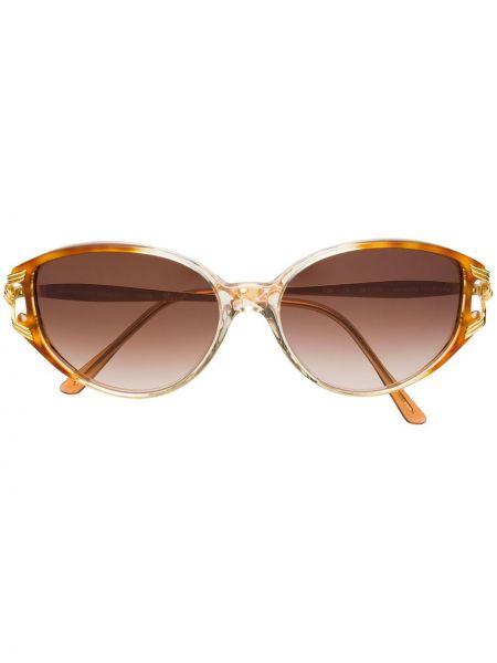 Прямые солнцезащитные очки металлические хаки Emanuel Ungaro Pre-owned