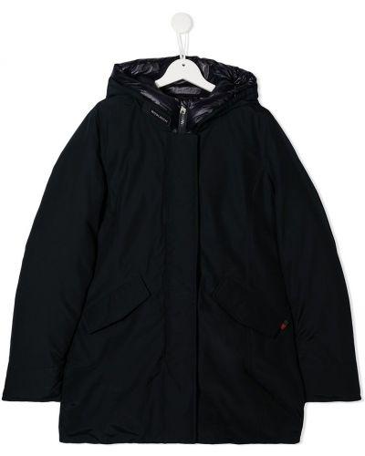 Черный классический пуховик с капюшоном с капюшоном на молнии Woolrich Kids