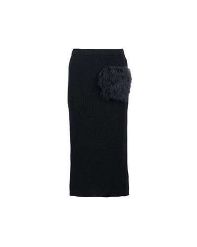 Шерстяная юбка миди - черная Eleventy