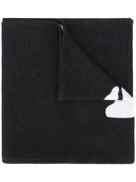 Czarny szalik wełniany z haftem Off-white