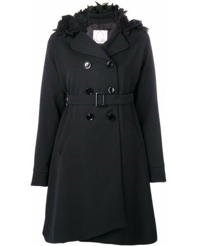 Черное длинное пальто с капюшоном на пуговицах Romeo Gigli X Eggs