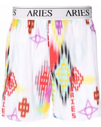 Ватные хлопковые белые шорты Aries