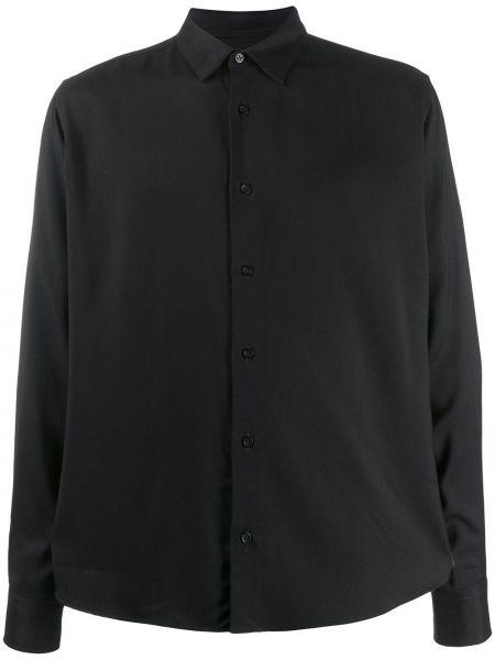 Czarna klasyczna koszula z długimi rękawami z wiskozy Ami