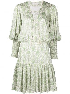 Zielona sukienka długa w kwiaty z printem Sachin & Babi