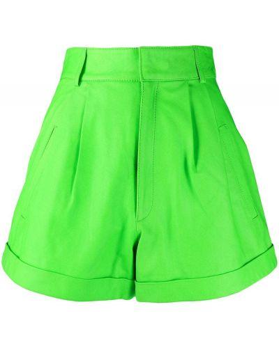 Зеленые с завышенной талией кожаные шорты Manokhi