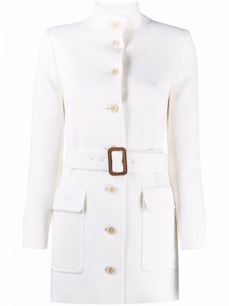 Шерстяное белое пальто с воротником Saint Laurent