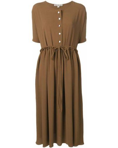 Коричневое плиссированное платье мини на пуговицах Edeline Lee