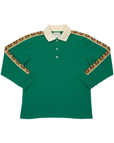Zielona klasyczna koszula bawełniana z długimi rękawami Gucci
