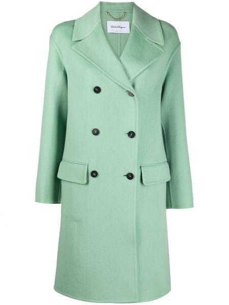 Зеленое кашемировое длинное пальто двубортное Salvatore Ferragamo