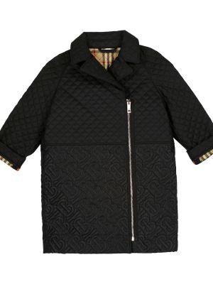 Czarny pikowana płaszcz Burberry Kids