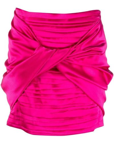 Розовая шелковая юбка мини с оборками Magda Butrym
