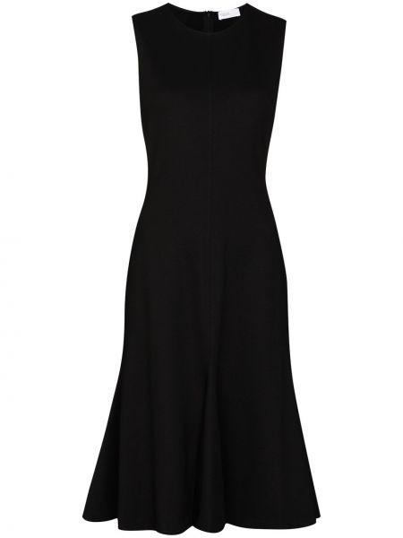Черное расклешенное платье из вискозы Rosetta Getty