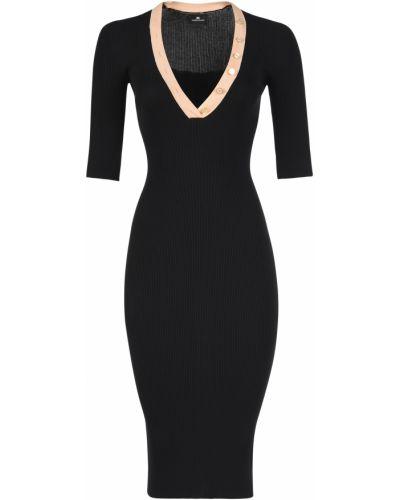 Платье из вискозы - черное Elisabetta Franchi
