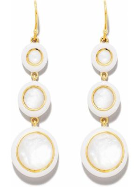 Белые золотые серьги с подвесками на крючках Ippolita
