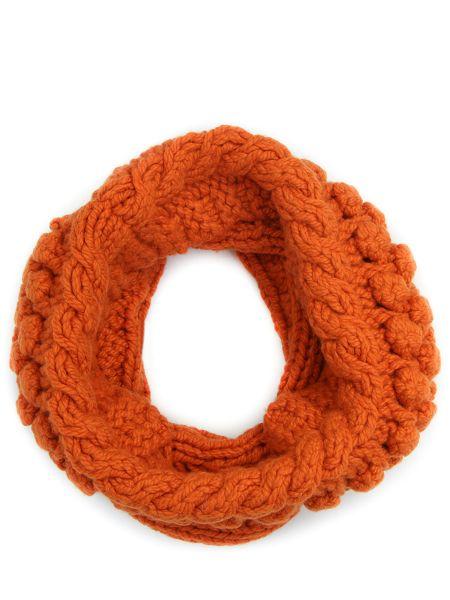 Оранжевый кашемировый шарф вязаный Malo