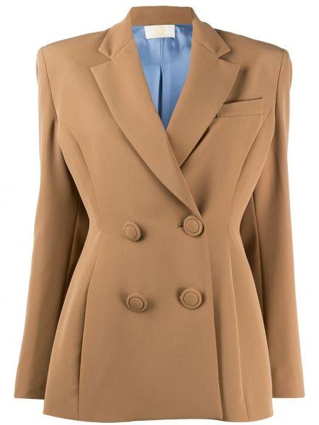 Коричневый пиджак двубортный с карманами Sara Battaglia