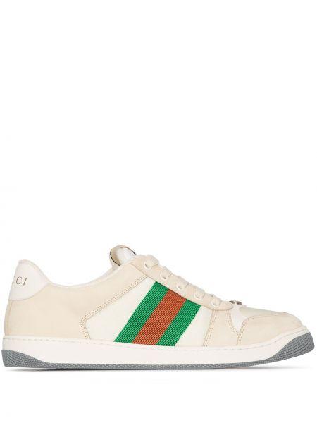 Skórzany skórzane sneakersy z łatami na sznurowadłach okrągły Gucci