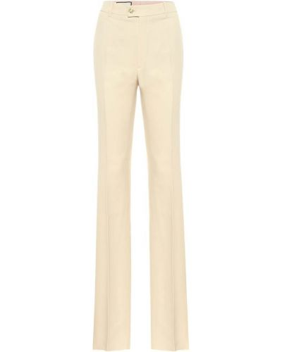 Beżowy wełniany prosto spodnie Gucci