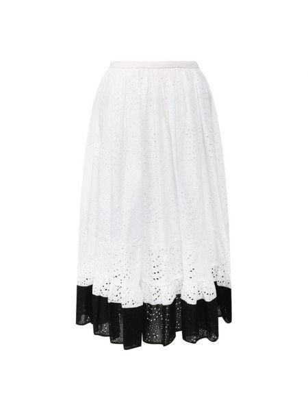 Шелковая юбка миди - белая No. 21