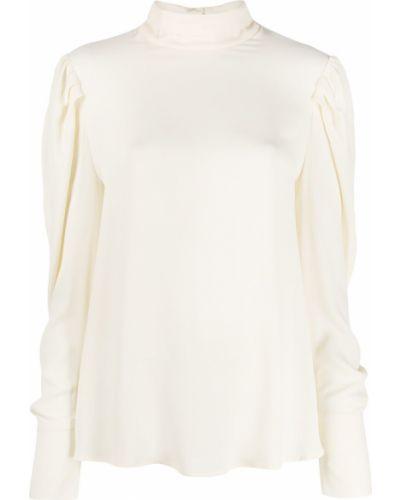 Блузка с длинным рукавом с рюшами белая Tela