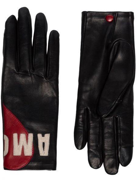 Черные кожаные перчатки Agnelle