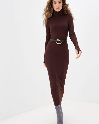 Коричневое трикотажное вязаное платье Trendyangel