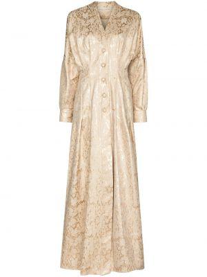 Beżowa sukienka długa z długimi rękawami z dekoltem w serek Sandra Mansour