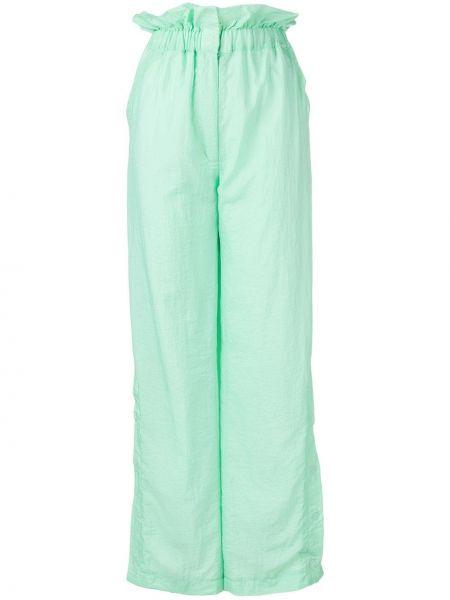 Zielone spodnie z wysokim stanem rozkloszowane House Of Holland
