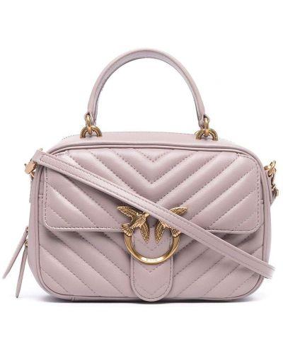 Стеганая розовая кожаная сумка-тоут Pinko