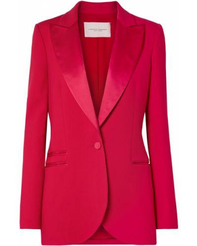 Шерстяной малиновый пиджак с карманами Carolina Herrera