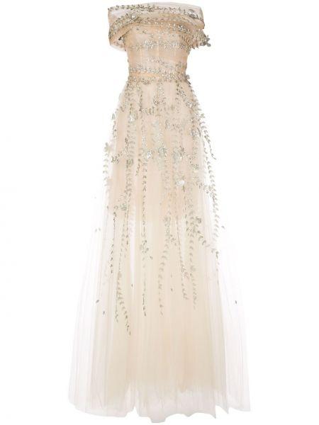 Вечернее платье в рубчик на молнии Oscar De La Renta