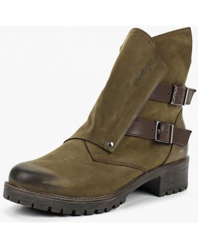 Ботинки на каблуке осенние из нубука Shoiberg