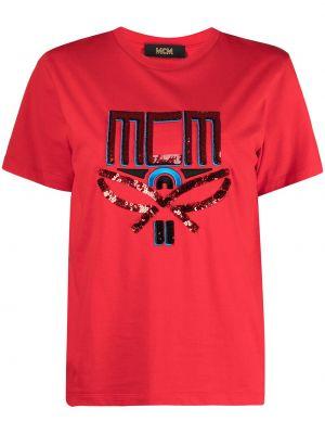 T-shirt bawełniany krótki rękaw z printem Mcm