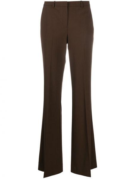 Коричневые расклешенные брюки с поясом с высокой посадкой Theory
