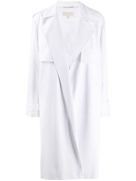 Белое длинное пальто с капюшоном Michael Michael Kors