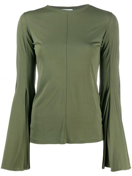 Расклешенная блузка с длинным рукавом хаки из вискозы с круглым вырезом Jw Anderson