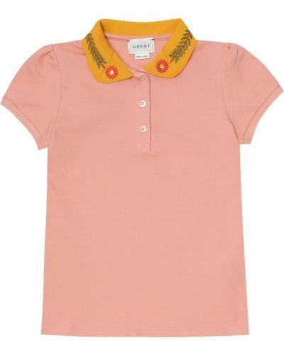Różowa koszula bawełniana Gucci Kids