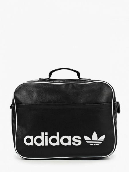 Кожаная спортивная черная спортивная сумка Adidas Originals