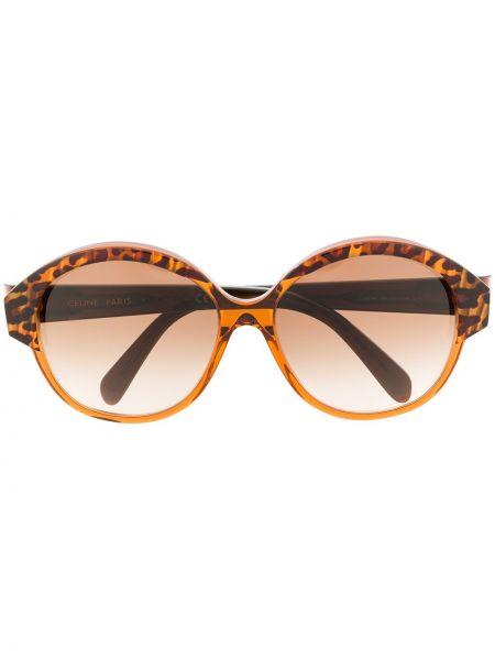 Коричневые солнцезащитные очки круглые металлические Céline Eyewear