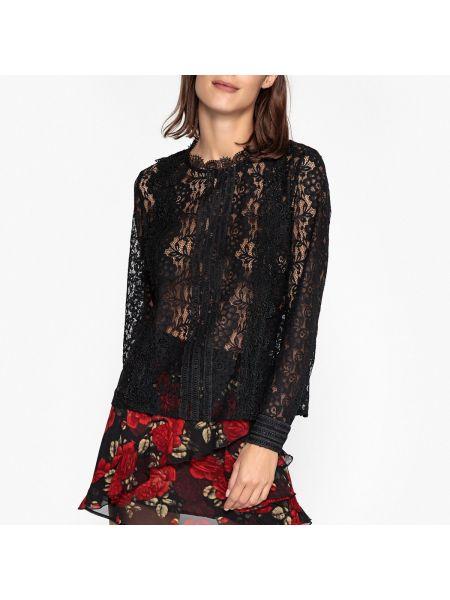 Черная кружевная блузка с длинным рукавом на кнопках свободного кроя Berenice