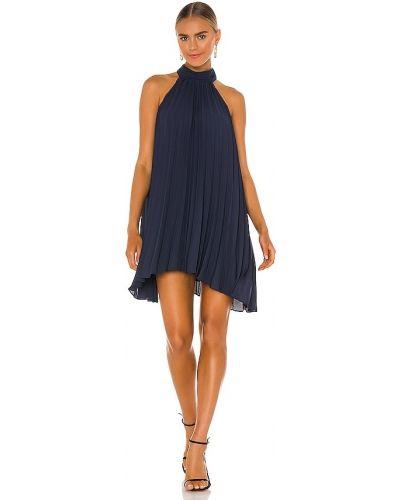 Плиссированное синее платье мини с подкладкой Krisa